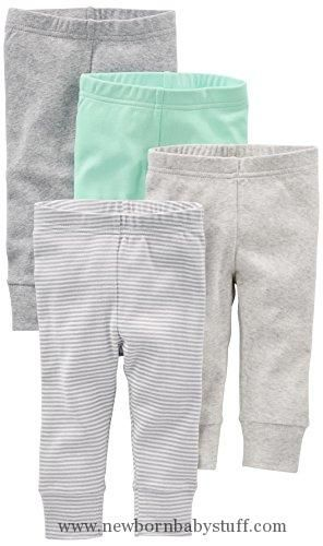 Baby Girl Clothes Simple Joys by Carter's Baby 4-Pack Pant, Grey/Mint, 0-3 Months
