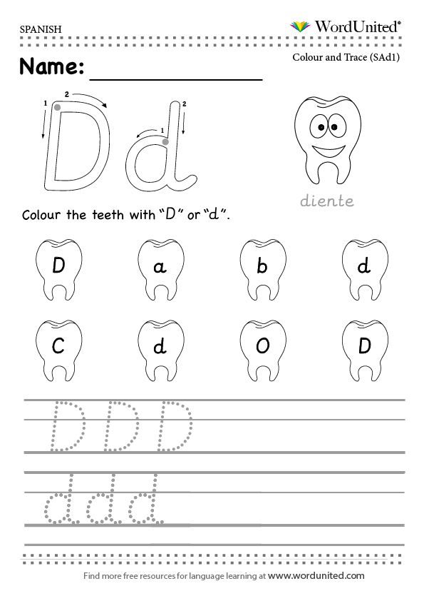 read and write the spanish alphabet wordunited free worksheet mfl spanish alphabet d diente. Black Bedroom Furniture Sets. Home Design Ideas