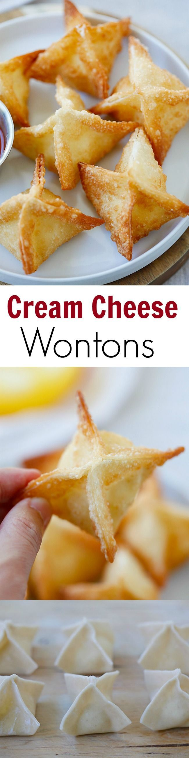 #chinesenewyear The best, easiest & super crispy crab rangoon or cream cheese wonton recipe EVER. Quick, fool-proof, a zillion times better than Chinese takeout | rasamalaysia.com