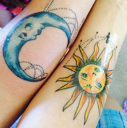 Mother Daughter Sun & Moon Tattoos