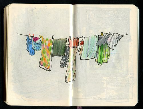Clothes line sketch and watercolor.