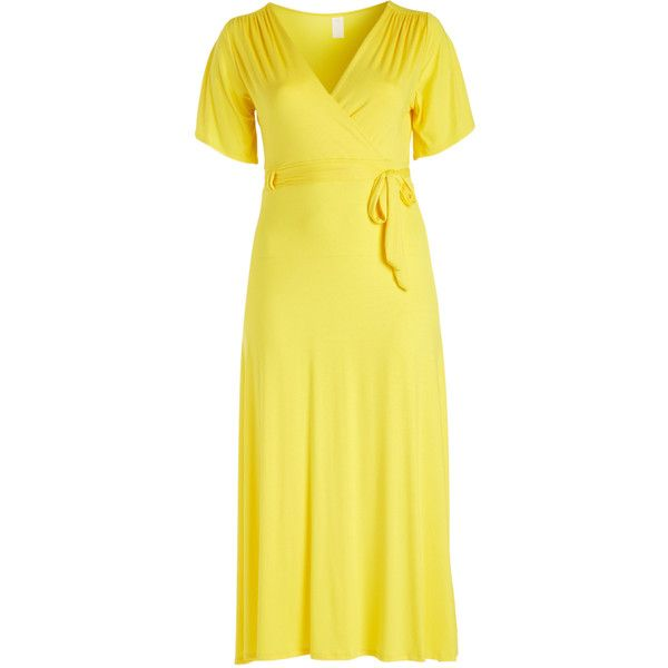 GLAM Yellow Surplice Maxi Dress ($30) ❤ liked on Polyvore featuring plus size women's fashion, plus size clothing, plus size dresses, plus size, surplice dress, plus size day dresses, long dresses and yellow maxi dress