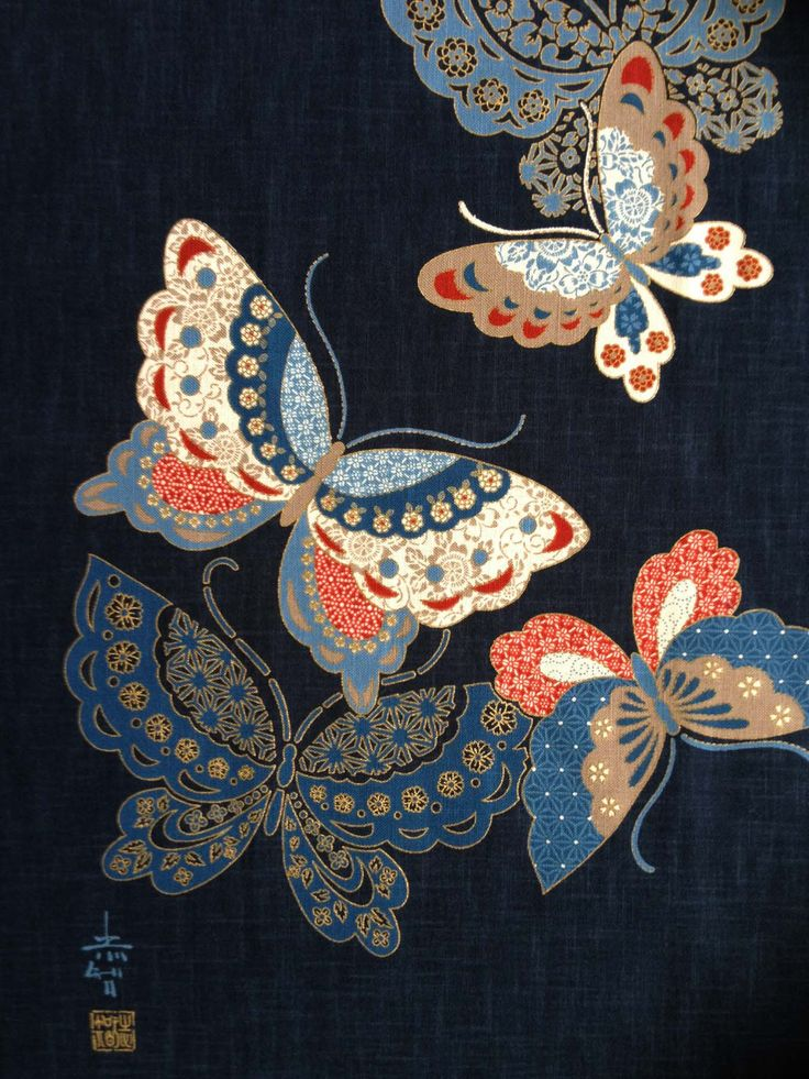 Japanese butterfly fabric panel