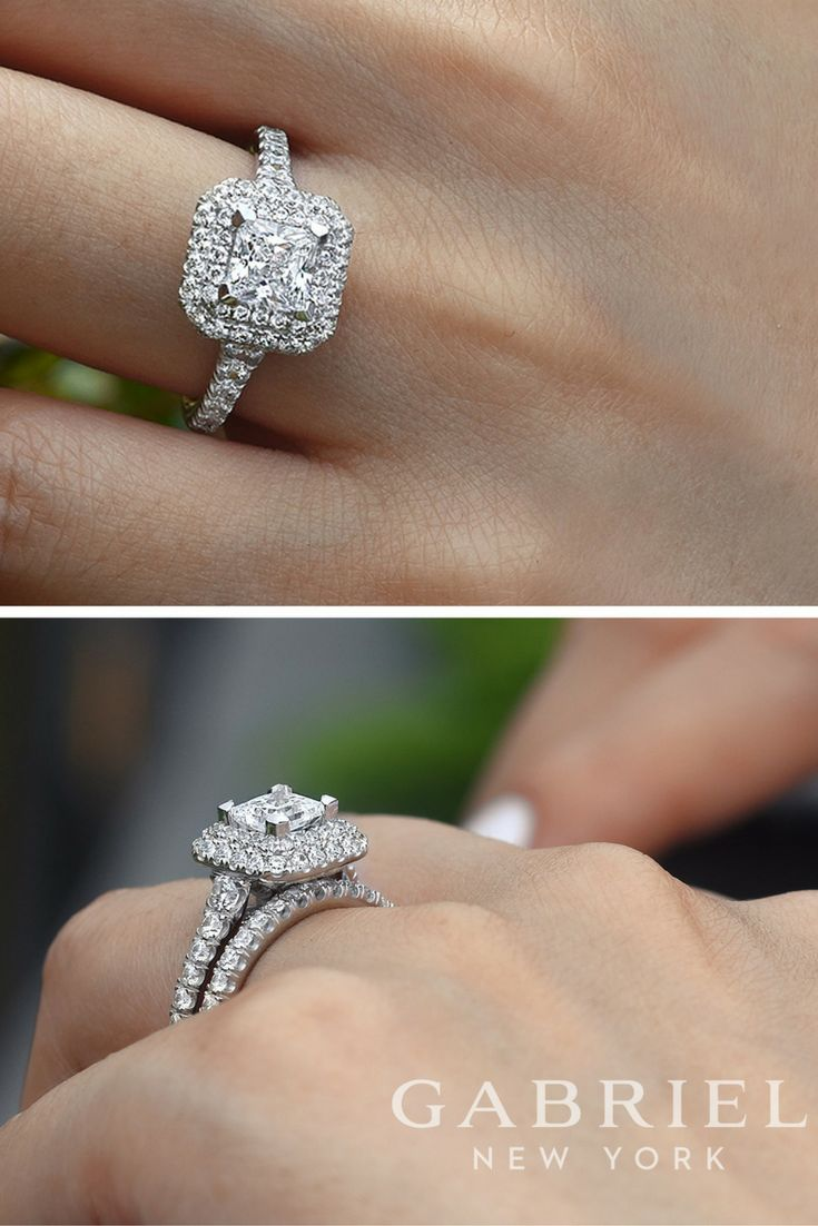Gabriel - 14k White Gold Princess Cut Double Halo Engagement Ring with matching wedding band.