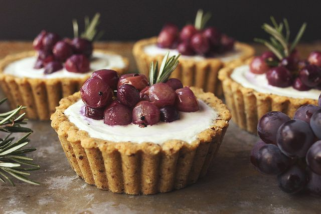 Roasted Grape and Rosemary Savory Goat Cheese Mini Tarts