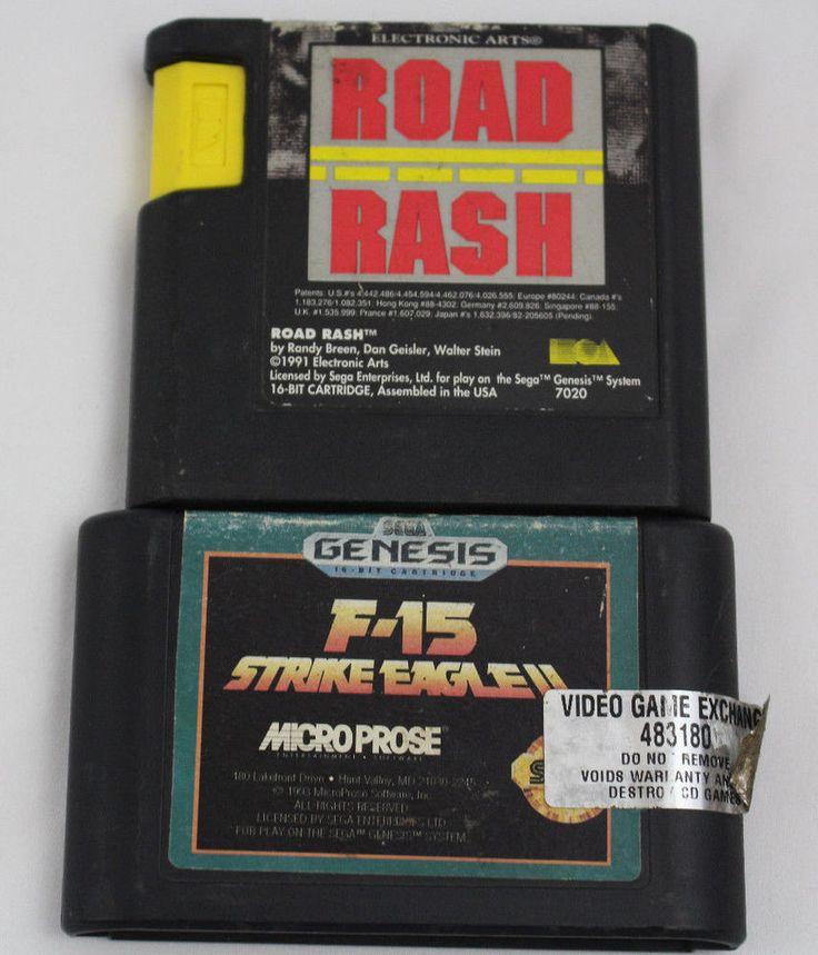 Sega Genesis Game Lot Road Rash F-15 Strike Eagle 2 TESTED #Sega