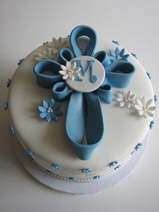 Blue Cross Baptism Cake with Cross Sugar Cookies! - Cake by Sandra ...