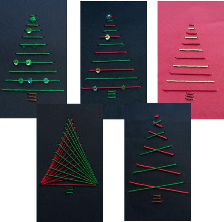 Zum Abschluss der Unterrichtsreihe Geometrisches Sticken / Fadengrafik haben meine Schüler Karten und Bilder mit geometrischen Weihnachtsmo...