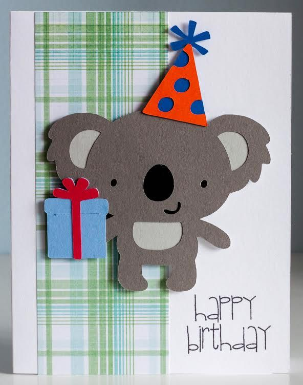 "Koala birthday card using Cricut cartridge ""Create a Critter"" and Pink by Design's stamp set ""Birthday, Birthday."""