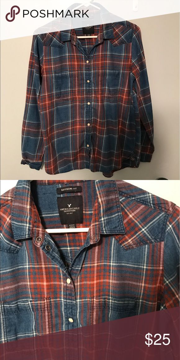 """Selling this AE """"boyfriend"""" fit flannel! on Poshmark! My username is: taylorgxng. #shopmycloset #poshmark #fashion #shopping #style #forsale #American Eagle Outfitters #Tops"""