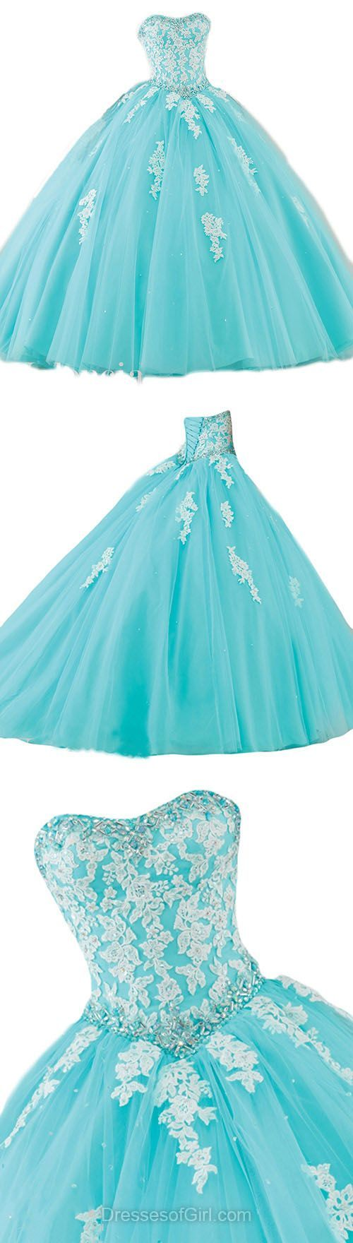 Ball Gown Prom Dresses, Strapless Prom Dress, Tulle Evening Dresses, Blue Party Dresses, Cheap Quinceanera Dresses