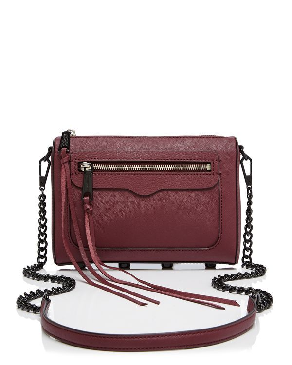 Rebecca Minkoff's compact, weekend-ready crossbody is sleek in saffiano leather and a streamlined silhouette.