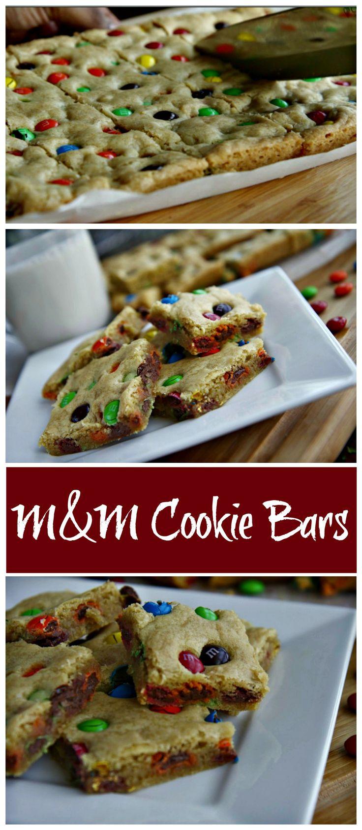 M & M Cookie Bars.
