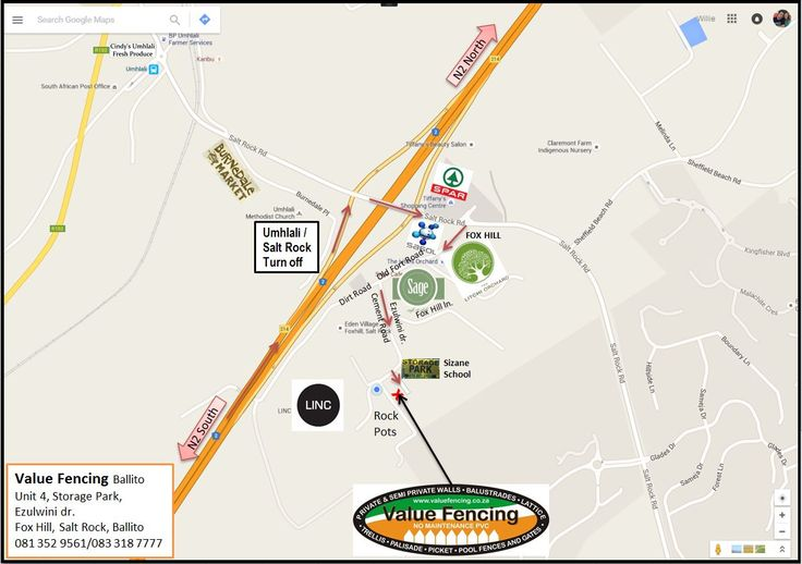 Directions to Value Fencing PVC new premises in Salt Rock, Ballito