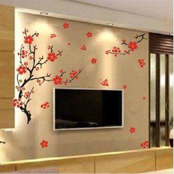 Pared de la flor roja del árbol de la flor de la etiqueta engomada de la mariposa del ciruelo Arte Adhesivos Decoración Mural