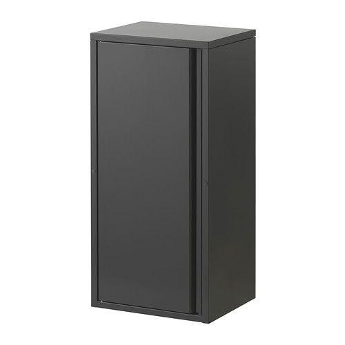 IKEA - JOSEF, Schrank drinnen/draußen, dunkelgrau, , Der Schrank hat zwei versetzbare Böden. Die Tür kann mit der Öffnung nach rechts oder links montiert werden.Stapelbar. Mit Verbindungsbeschlägen.