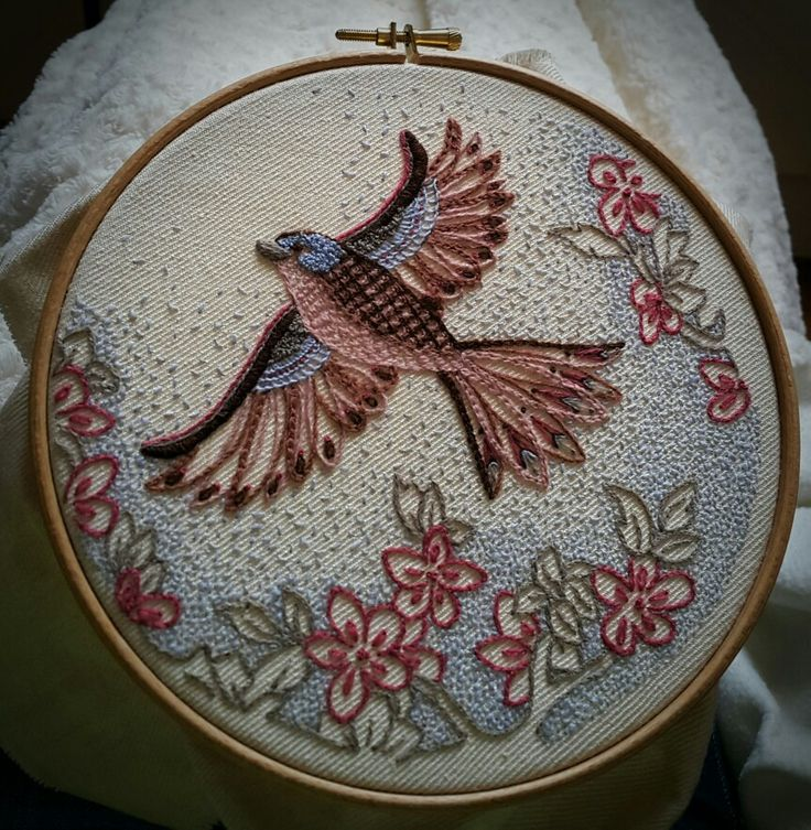 Crewel Work Chaffinch from The Bluebird Embroidery Co. kit