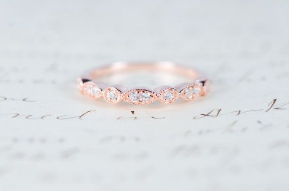 Rose Gold Wedding Band Art Deco Ring Stacking Ring by MochaRings