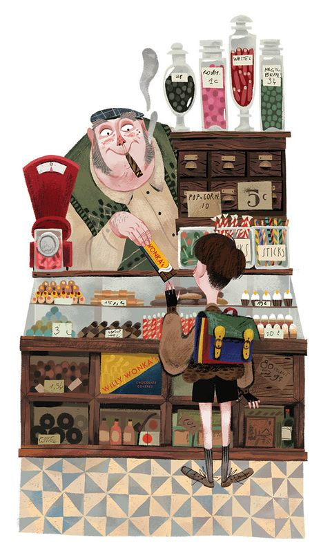 Sweet... 'Charlie and the Chocolate Factory' illustrated by Júlia Sardà #illustration #inspiration
