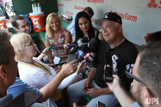 Chicago White Sox manager Rick Renteria talks to the media prior to the White Sox game against the Chicago Cubs at Wrigley Field in Chicago…