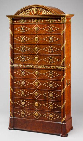 1804-1815 French Desk (secrétaire). Amboyna on pine with gilt-bronze mounts via Metropolitan Museum of Art, New York, NY  Beautiful!