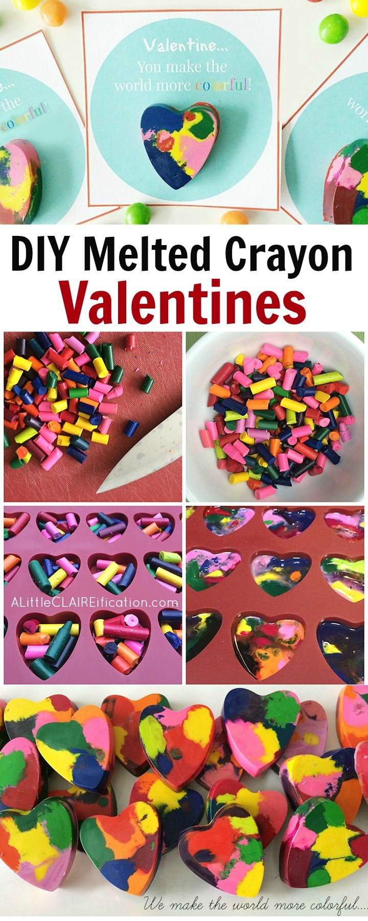 DIY Melted Crayon Kids Valentines - so easy to make and hands on for the kids