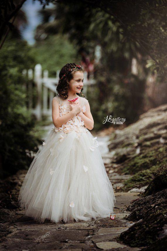 aece75483 Flower girl dress Champagne Dress Champagne tutu dress, flower top,  hydrangea top, toddler tutu dress Cascading flowers