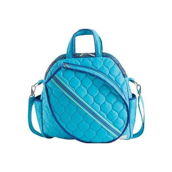 Women's Cinda B Tennis Tote - Bora Bora Tennis ($149) ❤ liked on Polyvore featuring bags, handbags, tote bags, none, blue tote, pocket tote bag, blue handbags, cinda b handbags and blue tote bag