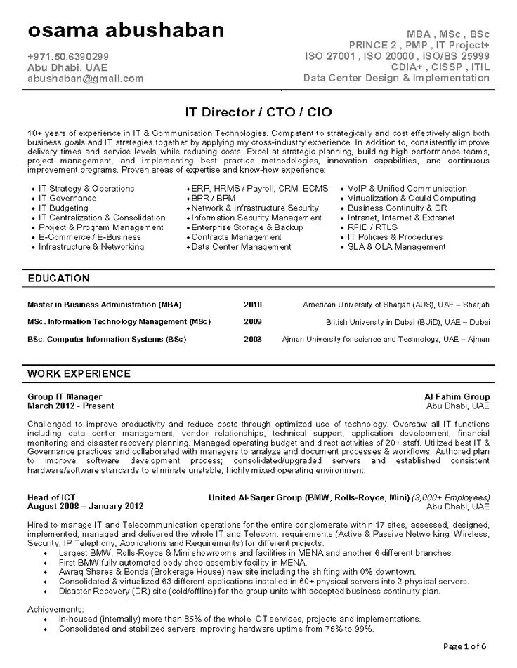 IT Director Resumes - Google Search