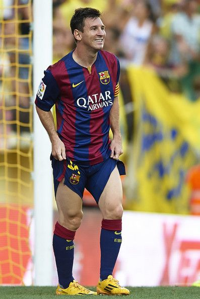 Lionel Messi of Barcelona reacts as he fails to score during the La Liga match between Villarreal CF and FC Barcelona at El Madrigal stadium on August 31, 2014 in Villarreal, Spain.