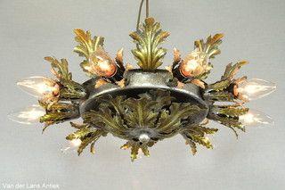 Italiaanse plafonniere 26221 bij Van der Lans Antiek. Meer antieke lampen op www.lansantiek.com