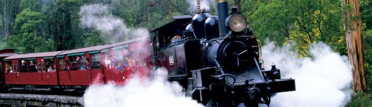 Puffing Billy is an historic steam train that starts at Belgrave in Melbourne, Australia, and runs through the mountainous region of the Dandenong Ranges, taking passengers through picturesque surroundings and stunning scenery. Read More
