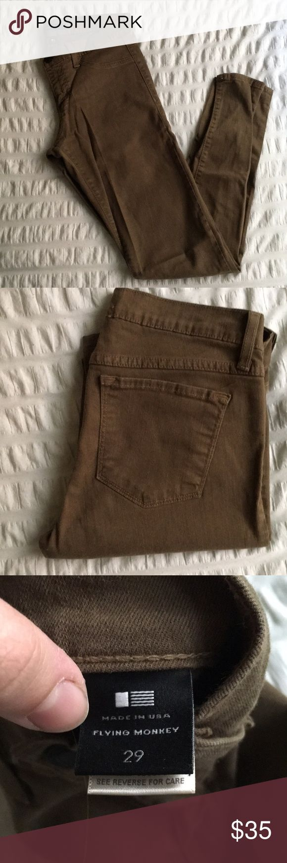 Perfect condition- Olive green Flying Monkey Jeans -Great condition (no tears, rips, or stains- barely worn) -A true skinny  Make an offer! Flying Monkey Jeans Skinny