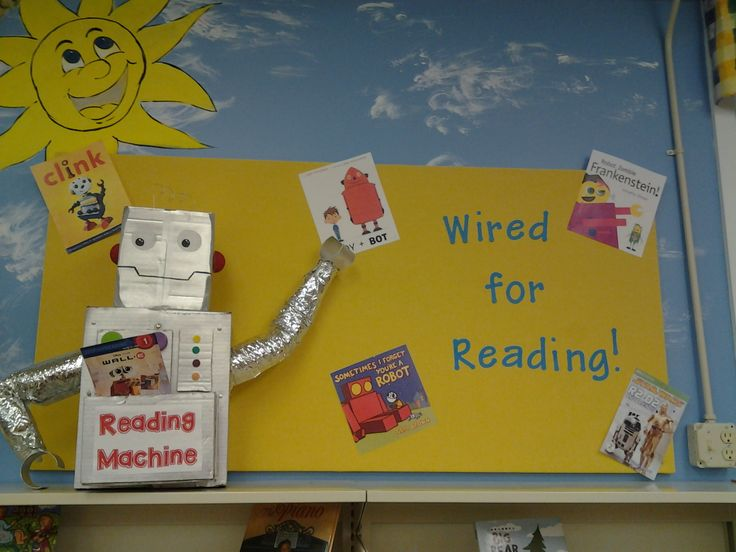 Robot Bulletin Board - Wired for Reading!  Fizz Boom Read Put up 5/12/2014