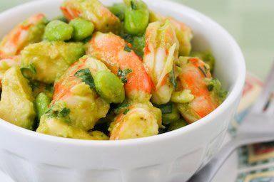 south beach friendly: shrimp, avocado an edamame salad