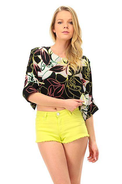 Kocca - Top - Abbigliamento - Top con manica a pipistrello taglio svasato e fantasia floreale. Chiusura con zip sul retro. - F4006 - € 85.00
