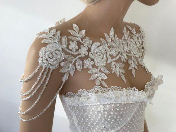 Elfenbein Silber Spitze Schulter Halskette Schulter Braut Spitze Schulter, Hochzeit Schulter … – DIY