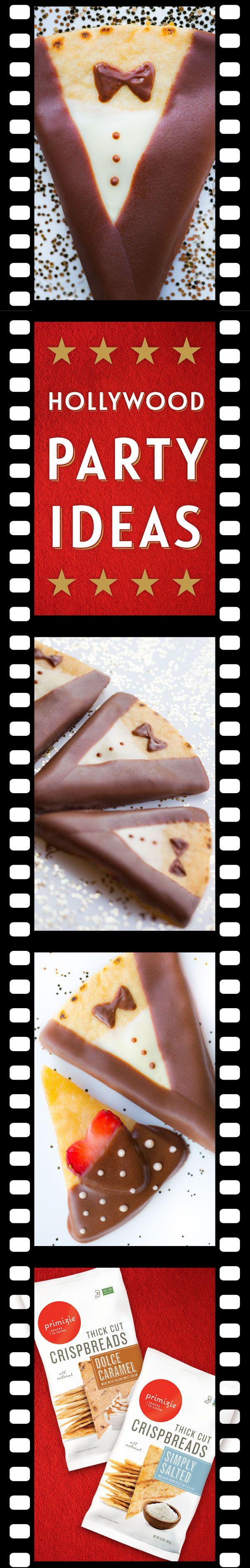 Chocolate Tuxedo Strawberry  Bites | Oscar Party Ideas | Throw a Hollywood theme party! SO delicious - make elegant chocolate dipped tuxedo and strawberry bites.