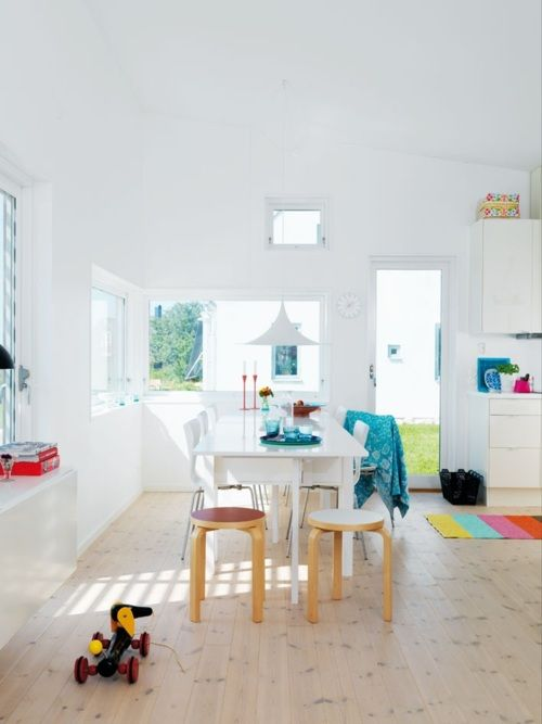 swedish design style, love the white with punchy color pops