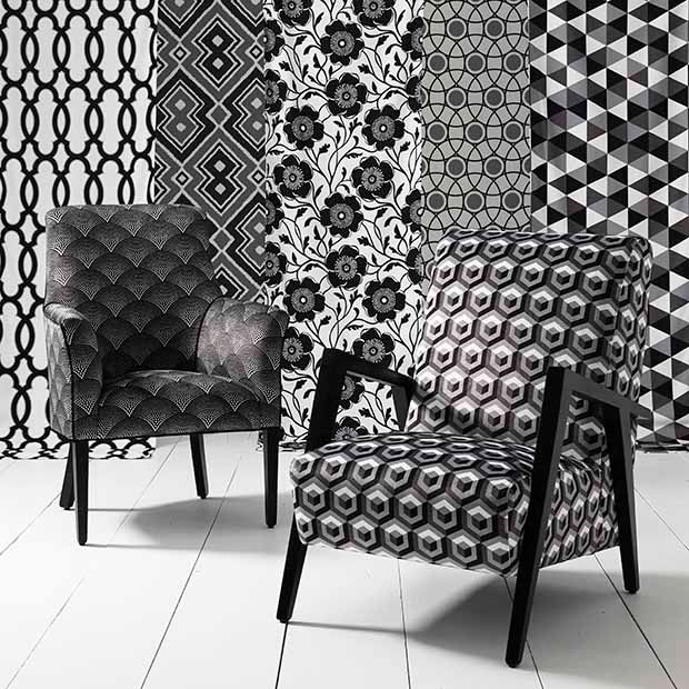 Monochrome Collection Warwick Fabrics Black And White