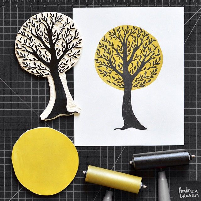 Andrea Lauren (@inkprintrepeat) | Carving and printing this tree in two colors this afternoon! Looking forward to the holiday break tomorrow! | Intagme - The Best Instagram Widget