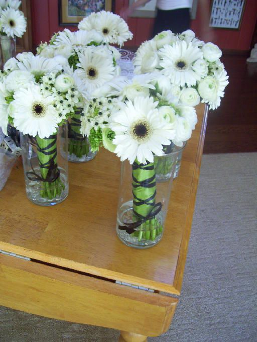 Bouquets with gerberas and star of Bethlehem