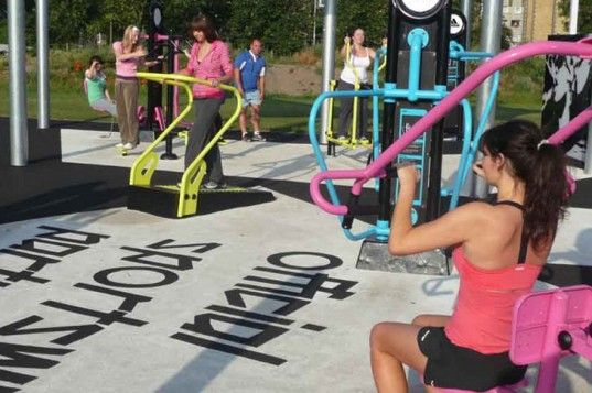 An outdoor gym in Northeast England that generates power to illuminate the gym at night through the use of their machines.