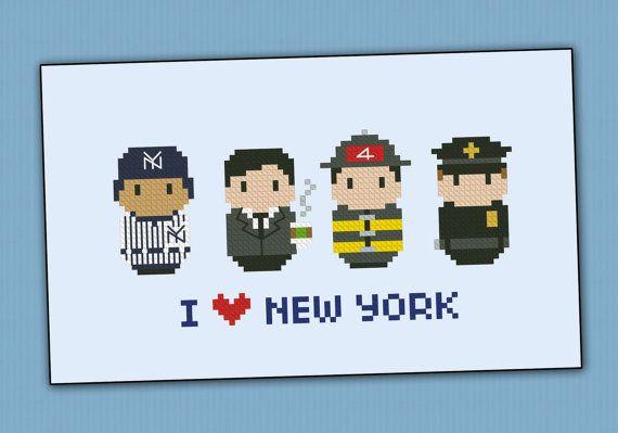 Icônes de New York - Mini personnes dans le monde entier - PDF traversent modèle stich