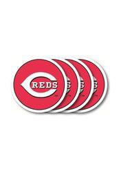 Cincinnati Reds 4 Pack Red Vinyl Coaster