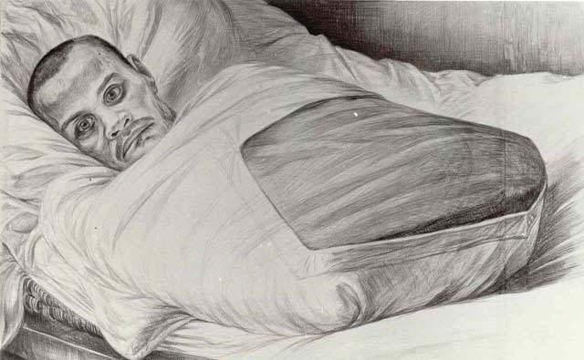 Портрет неизвестного солдата; интернат для инвалидов войны на о.Валаам, Никольский скит. Репродукция картины художника Геннадия Доброва «Неизвестный солдат» (1974) на выставке «Автографы войны» в Москве, 1987 год