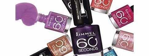 Rimmel 60 Seconds Nail Polish 506 Central Love Rimmel 60 Seconds Nail Polish. Nail Colour. Rimmel 60 Seconds Nail Polish Available in various shades. 60 Seconds Quick dry nail polish, 1 second application 60 Seconds Nail polish: - XpressTM brush f http://www.comparestoreprices.co.uk/nail-products/rimmel-60-seconds-nail-polish-506-central-love.asp