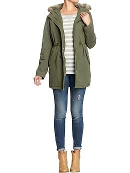 Womens Cinch-Waist Canvas Coats This oldnavy Adirondack jacket is perfectly on trend