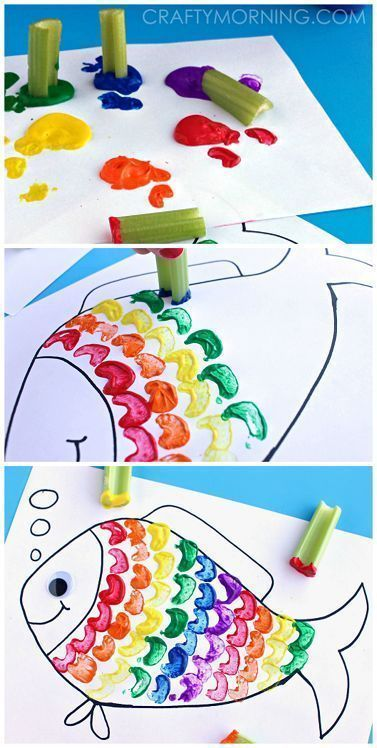 Rainbow Fish Craft Using Celery as a Stamp - Great craft for kids! | http://CraftyMorning.com