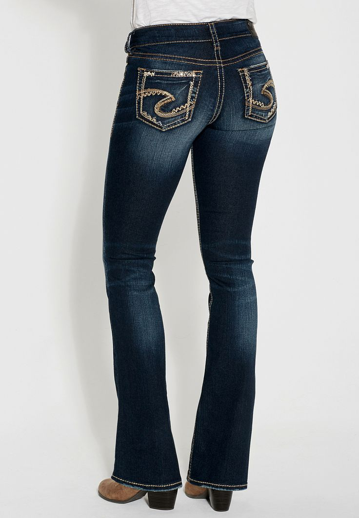 silver jeans co. ® suki fluid bootcut jeans with rhinestones